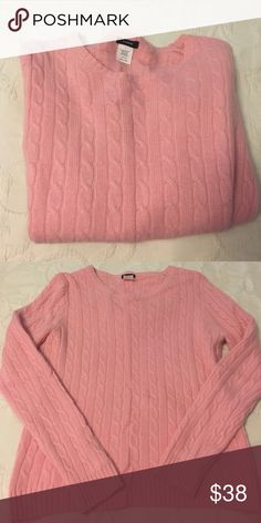JCrew pink cable knit Beautiful sweater. Says size Large would fit a medium J. Crew Sweaters