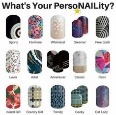 What's your persoNAILity? According to these wraps, I am a whimsical free spirit - not sure that's accurate! Jamberry Games, Island Girl, Country Girls, Free Spirit, The Dreamers, Whimsical, Feminine, Nail Art, Retro
