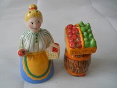 Lady and Fruit Stand Salt and Pepper Shakers  by DEWshophere, $9.99