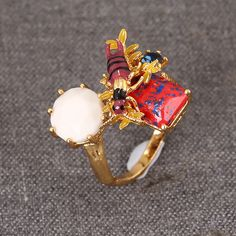 Les Nereides bee gem opening ring luxury elegant noble ring for women party brand jewelry high quality new arrival