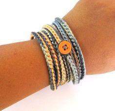 Crochet wrap bracelet orange grey boho bracelet by CoffyCrochet
