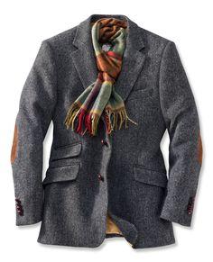 Sakko aus Harris Tweed mit Fischgrätmuster in Anthrazit (€ 349,00). | Charles Robertson