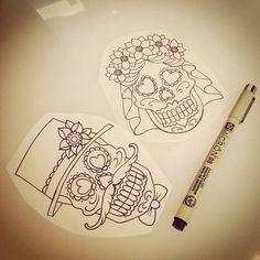 Perfect! Bride and groom sugar skulls!!!