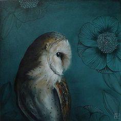 Woodland Owl Bird Print Wall Art Print Acrylic by inameliart