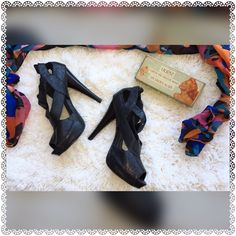 Charlotte Russe Peep Toe Heels EXCELLENT Pre-Loved Condition!!!...Charlotte Russe Peep Toe Heels..Man Made Materials....Stunning with Leggings..BodyCon Dress or Skirt...Hey..pair 'em up with Skinny Jeans and Off you GO!!!......NO TRADES!! Charlotte Russe Shoes Heels