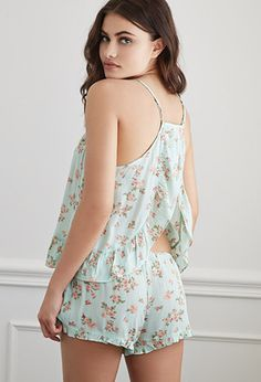 Shop for Ruffled Rose Print PJ Set by Forever 21 at ShopStyle. Cute Sleepwear, Sleepwear Women, Lingerie Sleepwear, Nightwear, Pijamas Women, Lingerie Outfits, Pajama Outfits, Cotton Pyjamas, Night Outfits