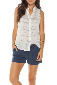 "Sheer sleeveless button down blouse features blue abstract pattern on white background. Pair with shorts or denim for a casual weekend look.  Approx. 38"" chest; 25 3/4"" shoulder to hem (size small)   Abstract Origami Blouse by Bella Dahl. Clothing - Tops - Sleeveless San Diego California"