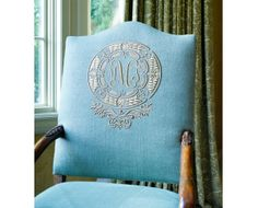 monogrammed chair, Joan Cecil