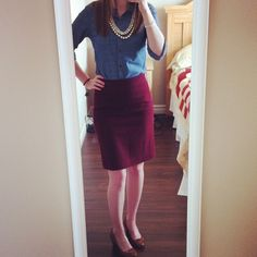 Dressy, but casual. Necklace: Stella & Dot. Top: Target. Skirt: J.Crew. Shoes: CL by Laundry