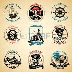 Classical epoca dei pirati del mare storie simboli caraibico emblemi vecchio documento stampato icon Archivio Fotografico