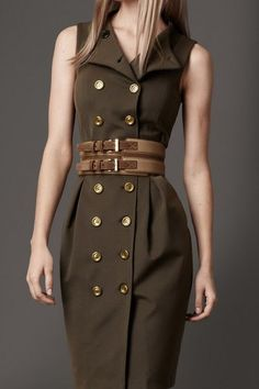Burberry London Dresses - this line is Amazing! Mode Outfits, Dress Outfits, Casual Dresses, Military Inspired Fashion, Military Fashion, Trench Dress, Coat Dress, Safari Dress, Mode Costume