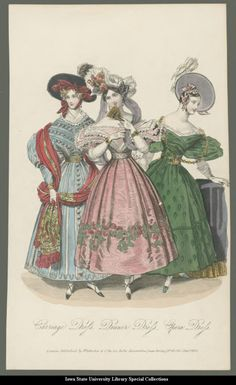 Carriage, dinner and opera dresses, 1832, La Belle Assemblee