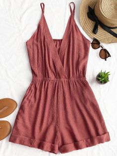 SHARE & Get it FREE | Rolled Up Hem Cross Front Romper - Brick-red SFor Fashion Lovers only:80,000+ Items • New Arrivals Daily Join Zaful: Get YOUR $50 NOW!