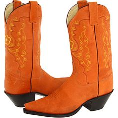 doesn't everyone need orange cowboy boots? Orange You Glad, Orange Is The New, Orange And Purple, Orange Color, Yellow, Orange Boots, Shoe Boots, Shoe Bag, Orange Crush