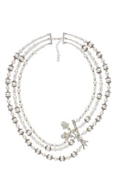 Triple-Strand Necklace with Rhinestone Brooch, Swarovski Crystal Beads and Pearls and Silver-Plated Brass Beads and Bead Caps