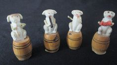 4 Vintage Dog Barrel Band 1-3/4 Wood Figurines Folk Art