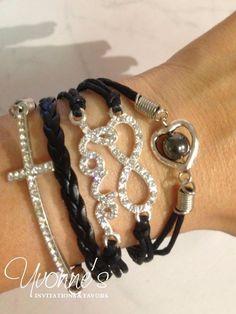 Black Rhinestone Multi Layer Leather Wrap Cord Bracelet - Love Infinity Charm   Jewelry & Watches, Fashion Jewelry, Bracelets   eBay!