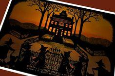 Halloween Witch Greeting Card          Mansion on by NancyMichalak, $4.75 #trickortreat #halloween #halloweenartistbazaar