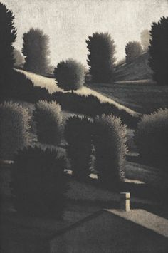 "Robert Kipniss, ""Sentinels,""  Hand-painted mezzotint,1992"