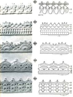 alice brans posted Crochet edging diagrams for a afghan, baby blanket, scarf, dish towel, pillowcase. to their -crochet ideas and tips- postboard via the Juxtapost bookmarklet.Trendy crochet flower edging patterns crochet edges pattern – an entire Crochet Edging Patterns Free, Crochet Boarders, Crochet Lace Edging, Crochet Diagram, Crochet Edgings, Crochet Flower, Loom Patterns, Stitch Patterns, Filet Crochet