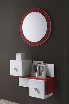 Conjunto recibidor Dressing Table Design, Dressing Tables, Tv Area Decor, Room Decor, Entry Way Design, Standing Mirror, Wall Treatments, Geometric Designs, Organization Hacks