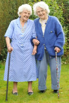 Ena Pugh and Lily Willward, British twins who celebrated their 102nd birthday. (Wales News Service)