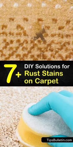 Learn how clean carpet stains by blotting away old rust spots with warm water and a paper towel. Make a homemade rust remover with dish soap, white vinegar, ammonia, lemon juice, and salt to clean stained carpeting. #rust #stains #carpet #ruststainscarpet