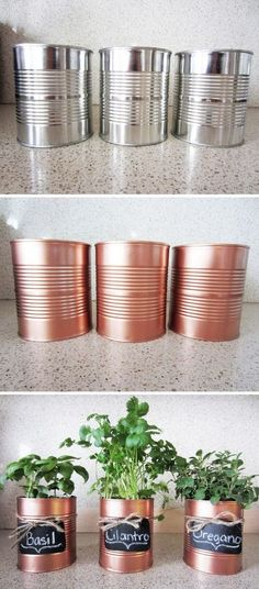 DIY Copper Tin Can Planters And Chalkboard Tags. #DIYDecor