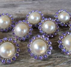 Rhinestone, White Pearl and Purple Buttons