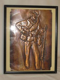 Framed Copper Relief Union Civil War Soldier Signed Art by Alveta, $25.00