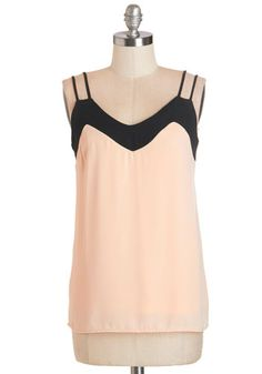 Tanks to You Top - Mid-length, Chiffon, Woven, Pink, Solid, Spaghetti Straps, Summer, Exclusives, Pink, Sleeveless, Black