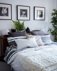 Layer pillows, cushions and throws for a cosy bedroom Cosy Bedroom, Master Bedroom, Bedroom Decor, Scandinavian Bedroom, Headboard Alternative, Cozy Bed, Home And Deco, New Room, Apartment Living
