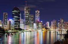 Brisbane, Australia - pretty skyline now Brisbane Cbd, Brisbane Australia, Australia Travel, City Lights At Night, Night City, Living In Adelaide, Melbourne Skyline, Airlie Beach, City Photography