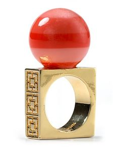 Trina Turk Blues & Corals Striped Resin Ring