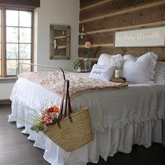 Happy Sunday evening, friends!  Do you know the lovely Lucy Rose @birdie_farm?  This gorgeous bedroom belongs to her.  Seriously, could this be anymore charming?! I love everything about it!  Such a sweet space with that beautiful planked wall, the clean, white ruffled linens, and that VIEW!  Perfect!  If you aren't already following Lucy, hop on over and check out her lovely feed, and be prepared to stay a while. 😊 #sundayhomeinspo #onetofollow #followfriday