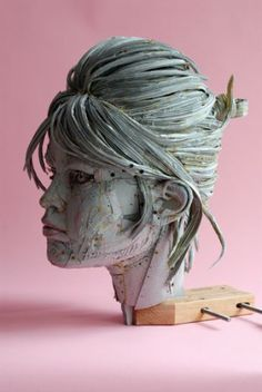 Here is another example of an amazing paper artist: Scott Fife uses cardboard, glue and screws to transform the ordinary into the absolutely extraordinary. Love this head of Brigit Bardot