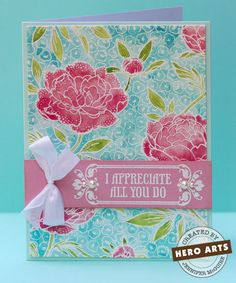 So pretty ... white emboss a detailed bg stamp on wc paper and paint color on with perfect pearls and wc pencils