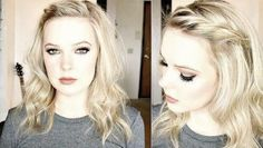 Model looks cute in her loose curls and a twisted braid by her forehead for that sweetness