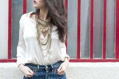 classic white shirt with big jewelry