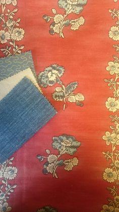 Charleston-Red, Squiggle-Persian Blue, Lotus-Blanc Antique & Lotus-Fond de L'eau