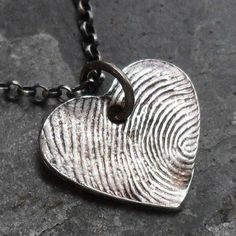 Fingerprint Heart Necklace 1 Fine Silver Charm by janewearjewelry from janewearjewelry on Etsy. Saved to pretties for myself. #memories #thumbprint.