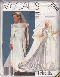 MOMSPatterns Vintage Sewing Patterns - McCall's 2343 Vintage 80's Sewing Pattern DIVINE Designer Priscilla Basque Waist Classic Wedding Gown...