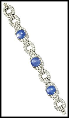 Art Deco platinum, star sapphire and diamond bracelet, circa 1930. 50.00 carats of sapphires, 9.25 carats of diamonds.