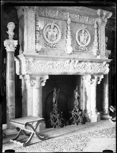 Elaborate fireplace in the Gilded Age mansion of, Charles M. Schwab, steel magnate. Built in the Beaux-Arts style, from c.1902 - c.1906.  The 75 room home was located on Riverside Drive, between West 73rd & 74th Streets, NYC. ~~ {cwl}