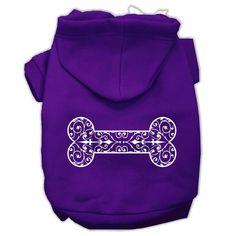 Henna Bone Screen Print Pet Hoodies Purple Size XXL (18)