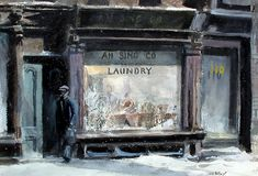 """Ah Sing Company Laundry,"" John Whorf, watercolor on paper, x Mark Murray Fine Paintings. City Painting, Figure Painting, Impressionist Paintings, Watercolor Paintings, Watercolors, Museum Of Fine Arts, Museum Of Modern Art, American Scene Painting, Laundry Art"