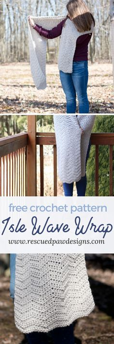 Isle Wave Wrap Crochet Pattern by Rescued Paw Designs #crochet #freecrochetpattern #crochet #crochetwrap #crochetshoulderwrap #crochet chevron via @rescuedpaw