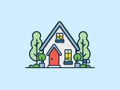 Home Illustration Tiny Ideas For 2019 Outline Illustration, Flat Design Illustration, House Illustration, Simple Illustration, Digital Illustration, Web Design, Line Design, Icon Design, House Design