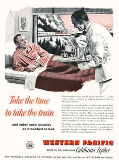 1958 California Zephyr Train Travel Luxury - Vintage Advertisement Print Ad in Collectibles, Advertising, Other Collectible Ads Travel Ads, Bus Travel, Train Travel, Train Posters, Railway Posters, California Zephyr, Strength Training For Beginners, Training Quotes, Print Ads