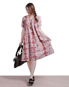 Printed linen short-sleeved round neck red summer dress | dreamyil